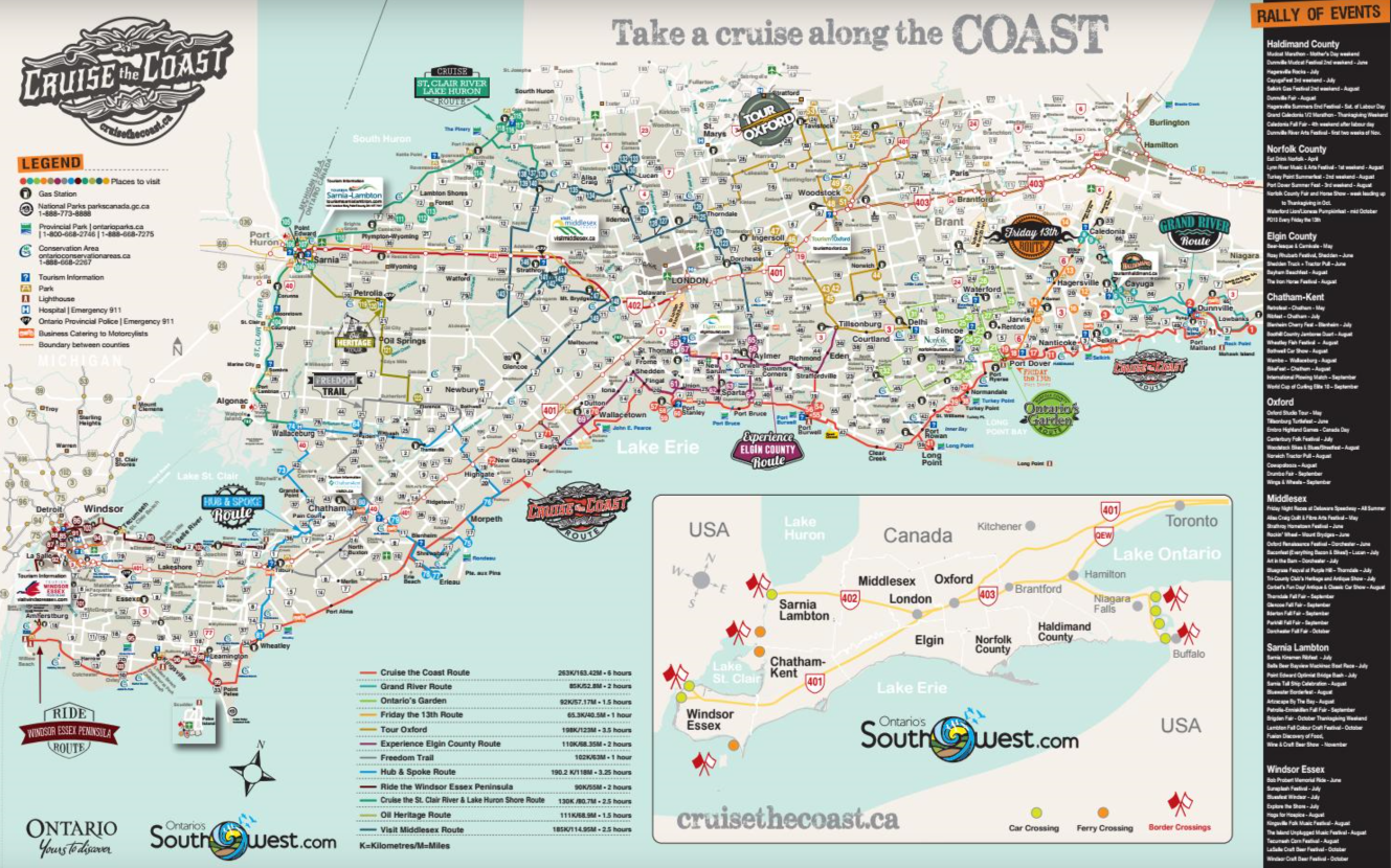 Cruise the Coast Map 2019