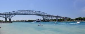 Bluewater Bridges. mouth of Lake Huron,  Photo credit George Rosema & tourism Sarnia Lambton